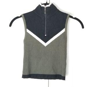 LF Seek the Label Ribbed Zipper Mock Neck Crop Top